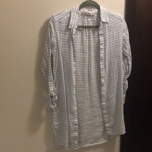 Long button down white with blue stripes